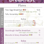 Root & Pecker 2018 hanging partial breakfast menu