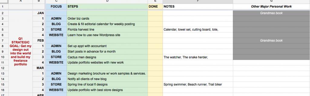 Goal Spreadsheet